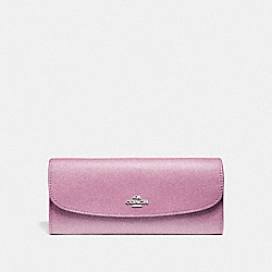 SOFT WALLET IN GLITTER CROSSGRAIN LEATHER - f11835 - SILVER/LILAC