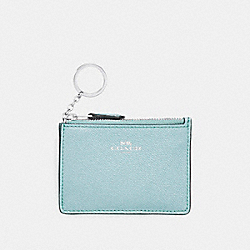 COACH F11836 Mini Skinny Id Case In Glitter Crossgrain Leather SILVER/AQUA