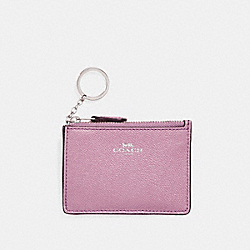 COACH F11836 Mini Skinny Id Case In Glitter Crossgrain Leather SILVER/LILAC