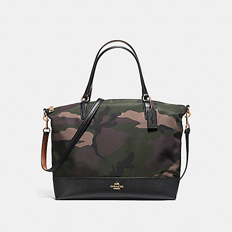 COACH f11847 NYLON SATCHEL IN CAMO LIGHT GOLD/DARK GREEN