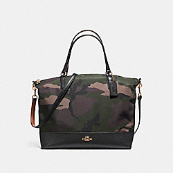 NYLON SATCHEL IN CAMO - f11847 - LIGHT GOLD/DARK GREEN