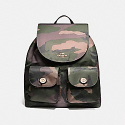 NYLON BACKPACK IN CAMO - f11848 - LIGHT GOLD/DARK GREEN