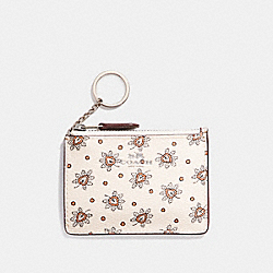 COACH F11849 Mini Skinny Id Case In Forest Bud Print Coated Canvas SILVER/CHALK MULTI