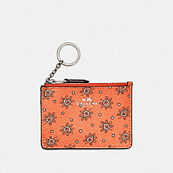 MINI SKINNY ID CASE IN FOREST BUD PRINT COATED CANVAS - f11849 - SILVER/CORAL MULTI