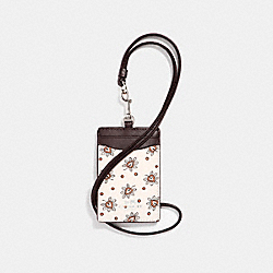 COACH F11850 Id Lanyard In Forest Bud Print Coated Canvas SILVER/CHALK MULTI