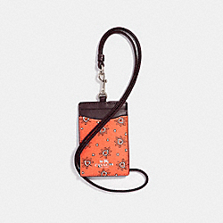 COACH F11850 Id Lanyard In Forest Bud Print Coated Canvas SILVER/CORAL MULTI