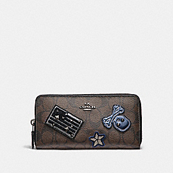 COACH F11855 Accordion Zip Wallet In Signature Coated Canvas With Varsity Patches BLACK ANTIQUE NICKEL/BROWN
