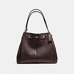 LEXY SHOULDER BAG IN PEBBLE LEATHER WITH FLORAL EMBROIDERY - f11873 - LIGHT GOLD/OXBLOOD 1