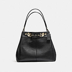LEXY SHOULDER BAG IN PEBBLE LEATHER WITH FLORAL EMBROIDERY - f11873 - ANTIQUE NICKEL/BLACK