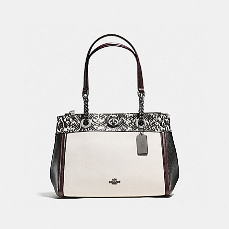 COACH f11874 TURNLOCK EDIE CARRYALL IN COLORBLOCK WITH SNAKESKIN DETAIL<br>蔻驰小编推荐:EDIE包在拼色与蛇皮细节 白垩/黑暗青铜色