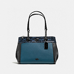 COACH F11874 Turnlock Edie Carryall In Colorblock With Snakeskin Detail MINERAL/DARK GUNMETAL