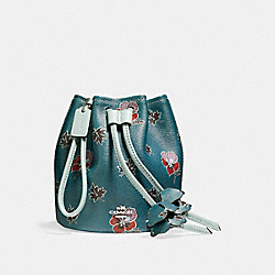 COACH PETAL WRISTLET IN WILDFLOWER PRINT COATED CANVAS - SILVER/DARK TEAL - F11875