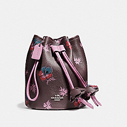 COACH F11875 Petal Wristlet In Wildflower Print Coated Canvas SILVER/OXBLOOD MULTI