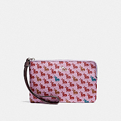 CORNER ZIP WRISTLET IN BUNNY PRINT COATED CANVAS - f11876 - SILVER/LILAC MULTI