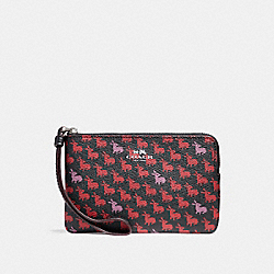 CORNER ZIP WRISTLET IN BUNNY PRINT COATED CANVAS - f11876 - SILVER/BLACK MULTI