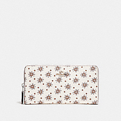 ACCORDION ZIP WALLET WITH FOREST BUD FLORAL PRINT - F11881 - SILVER/CHALK MULTI
