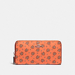 COACH F11881 - ACCORDION ZIP WALLET WITH FOREST BUD FLORAL PRINT SILVER/CORAL MULTI