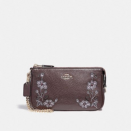 COACH F11882 LARGE WRISTLET 19 IN NATURAL REFINED LEATHER WITH FLORAL EMBROIDERY LIGHT-GOLD/OXBLOOD-1