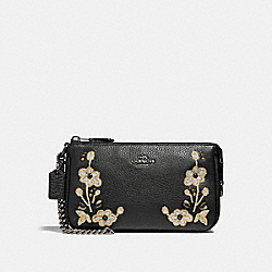 COACH F11882 - LARGE WRISTLET 19 IN NATURAL REFINED LEATHER WITH FLORAL EMBROIDERY ANTIQUE NICKEL/BLACK