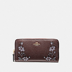 ACCORDION ZIP WALLET IN REFINED NATURAL PEBBLE LEATHER WITH FLORAL EMBROIDERY - f11885 - LIGHT GOLD/OXBLOOD 1
