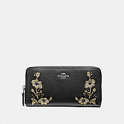 COACH F11885 Accordion Zip Wallet In Refined Natural Pebble Leather With Floral Embroidery ANTIQUE NICKEL/BLACK
