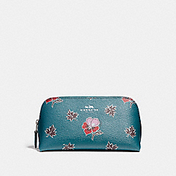 COACH F11893 Cosmetic Case 17 In Wildflower Print Coated Canvas SILVER/DARK TEAL