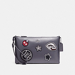 COACH F11895 Large Wristlet 25 In Refined Calf Leather With Varsity Patches ANTIQUE NICKEL/MIDNIGHT