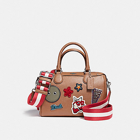 COACH f11897 MINI BENNETT SATCHEL IN CROSSGRAIN LEATHER WITH VARSITY PATCHES AND WEBBED STRAP SILVER/SADDLE