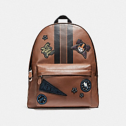 COACH F11898 Charles Backpack In Smooth Calf Leather With Varsity Patches BLACK ANTIQUE NICKEL/DARK SADDLE/BLACK/MAHOGANY