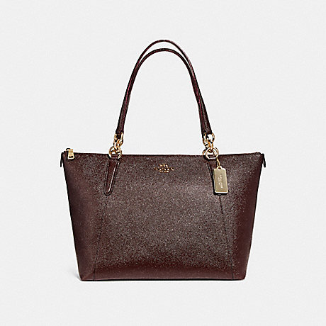 COACH f11900 AVA TOTE IN GLITTER CROSSGRAIN LEATHER LIGHT GOLD/OXBLOOD 1