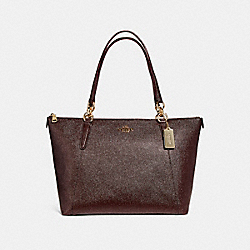 AVA TOTE IN GLITTER CROSSGRAIN LEATHER - f11900 - LIGHT GOLD/OXBLOOD 1