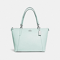 AVA TOTE IN GLITTER CROSSGRAIN LEATHER - f11900 - SILVER/AQUA