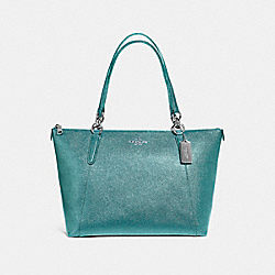 AVA TOTE IN GLITTER CROSSGRAIN LEATHER - f11900 - SILVER/DARK TEAL