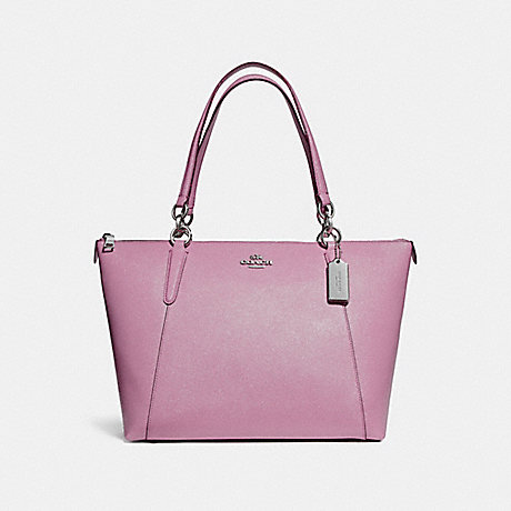 COACH f11900 AVA TOTE IN GLITTER CROSSGRAIN LEATHER SILVER/LILAC