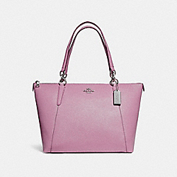 AVA TOTE IN GLITTER CROSSGRAIN LEATHER - f11900 - SILVER/LILAC