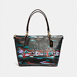 AVA TOTE IN LANDSCAPE PRINT COATED CANVAS - f11901 - LIGHT GOLD/BLACK MULTI