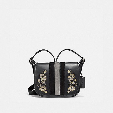 COACH f11911 PATRICIA SADDLE 18 IN VARSITY STRIPE LEATHER WITH FLORAL EMBROIDERY ANTIQUE NICKEL/BLACK