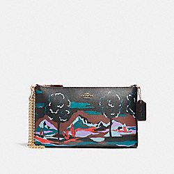 LARGE WRISTLET 25 IN LANDSCAPE PRINT COATED CANVAS - f11915 - LIGHT GOLD/BLACK MULTI