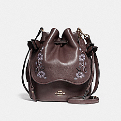 PETAL BAG IN PEBBLE LEATHER WITH FLORAL EMBROIDERY - f11917 - LIGHT GOLD/OXBLOOD 1