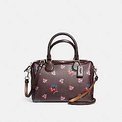 MINI BENNETT SATCHEL WITH WILDFLOWER PRINT - f11918 - oxblood 1/LIGHT GOLD
