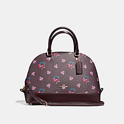 SIERRA SATCHEL IN WILDFLOWER PRINT COATED CANVAS - f11919 - LIGHT GOLD/OXBLOOD 1