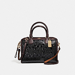 MINI BENNETT SATCHEL IN SIGNATURE DEBOSSED PATENT LEATHER - f11920 - LIGHT GOLD/BLACK