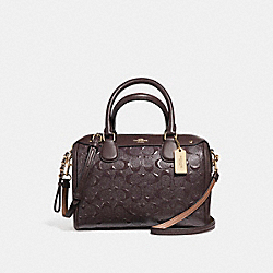 MINI BENNETT SATCHEL IN SIGNATURE DEBOSSED PATENT LEATHER - f11920 - LIGHT GOLD/OXBLOOD 1