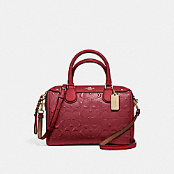 MINI BENNETT SATCHEL - f11920 - LIGHT GOLD/DARK RED