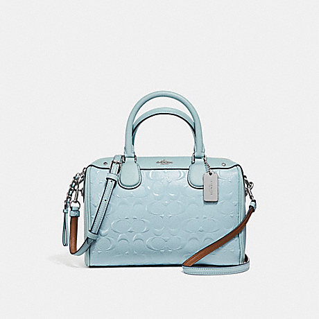 COACH f11920 MINI BENNETT SATCHEL IN SIGNATURE DEBOSSED PATENT LEATHER SILVER/AQUA
