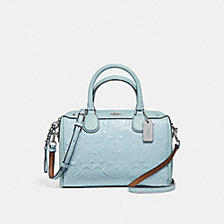 MINI BENNETT SATCHEL IN SIGNATURE DEBOSSED PATENT LEATHER - f11920 - SILVER/AQUA