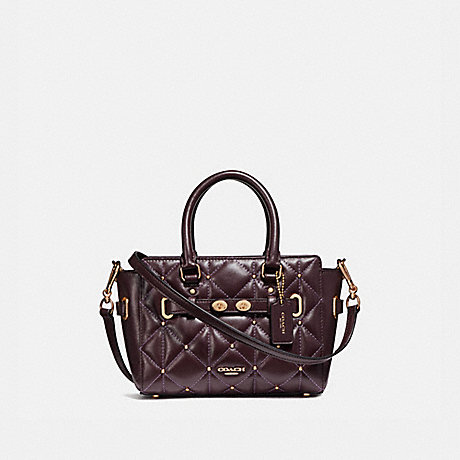 COACH f11922 MINI BLAKE CARRYALL WITH QUILTING LIGHT GOLD/OXBLOOD 1