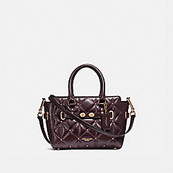 MINI BLAKE CARRYALL WITH QUILTING - f11922 - LIGHT GOLD/OXBLOOD 1