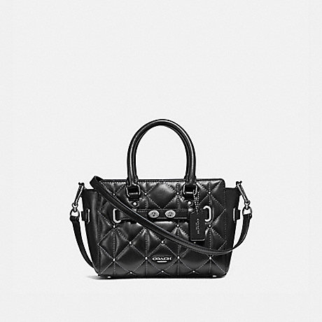 COACH f11922 MINI BLAKE CARRYALL WITH QUILTING ANTIQUE NICKEL/BLACK