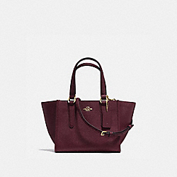 CROSBY CARRYALL 21 IN CROSSGRAIN LEATHER - f11925 - LIGHT GOLD/OXBLOOD 1